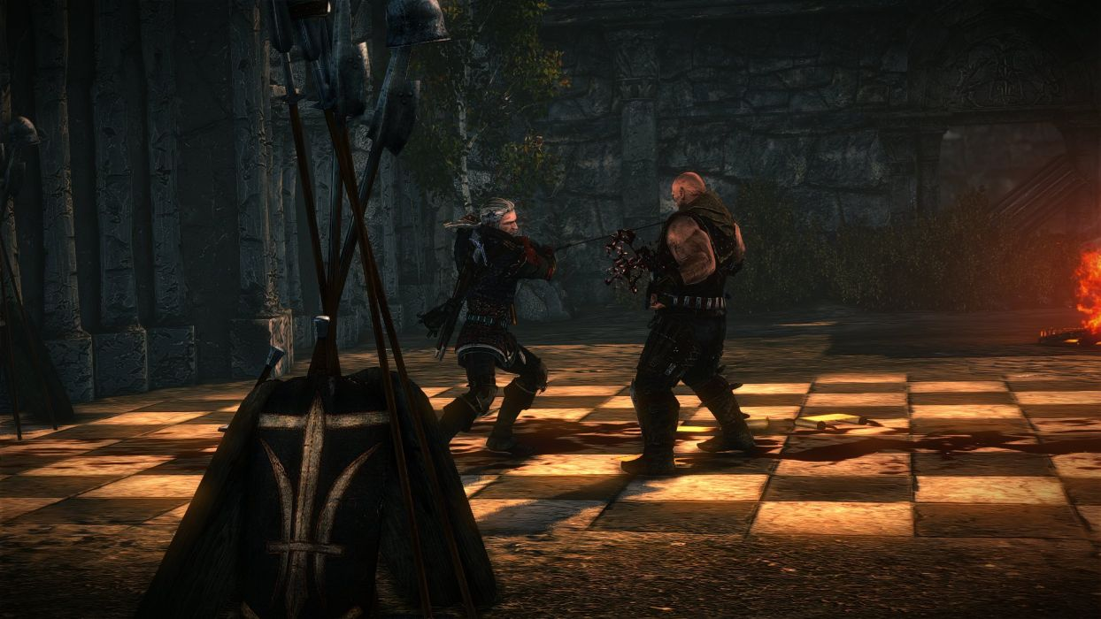 The Witcher 2 Assassins of Kings Geralt Sword Kill Letho Blood Death wallpaper
