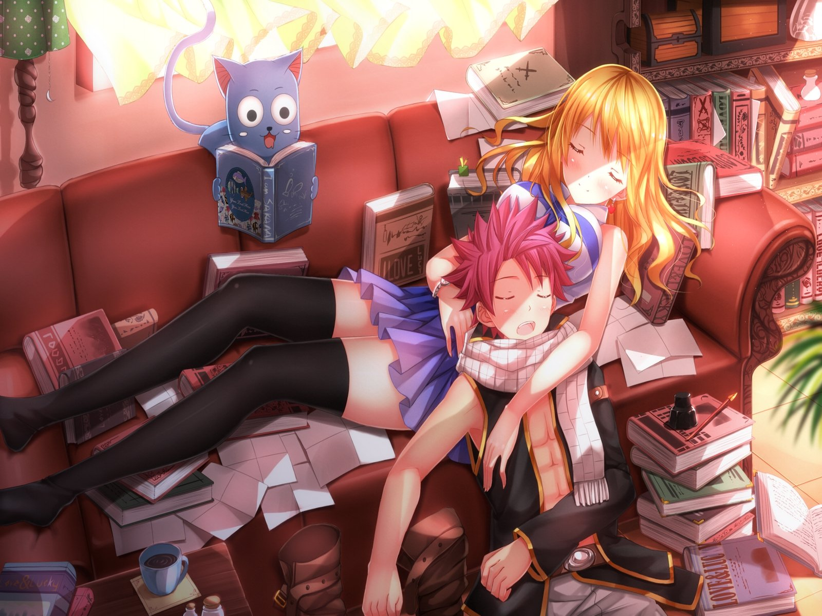 fairy tail natsu lucy and happy wallpaper 1600x1200