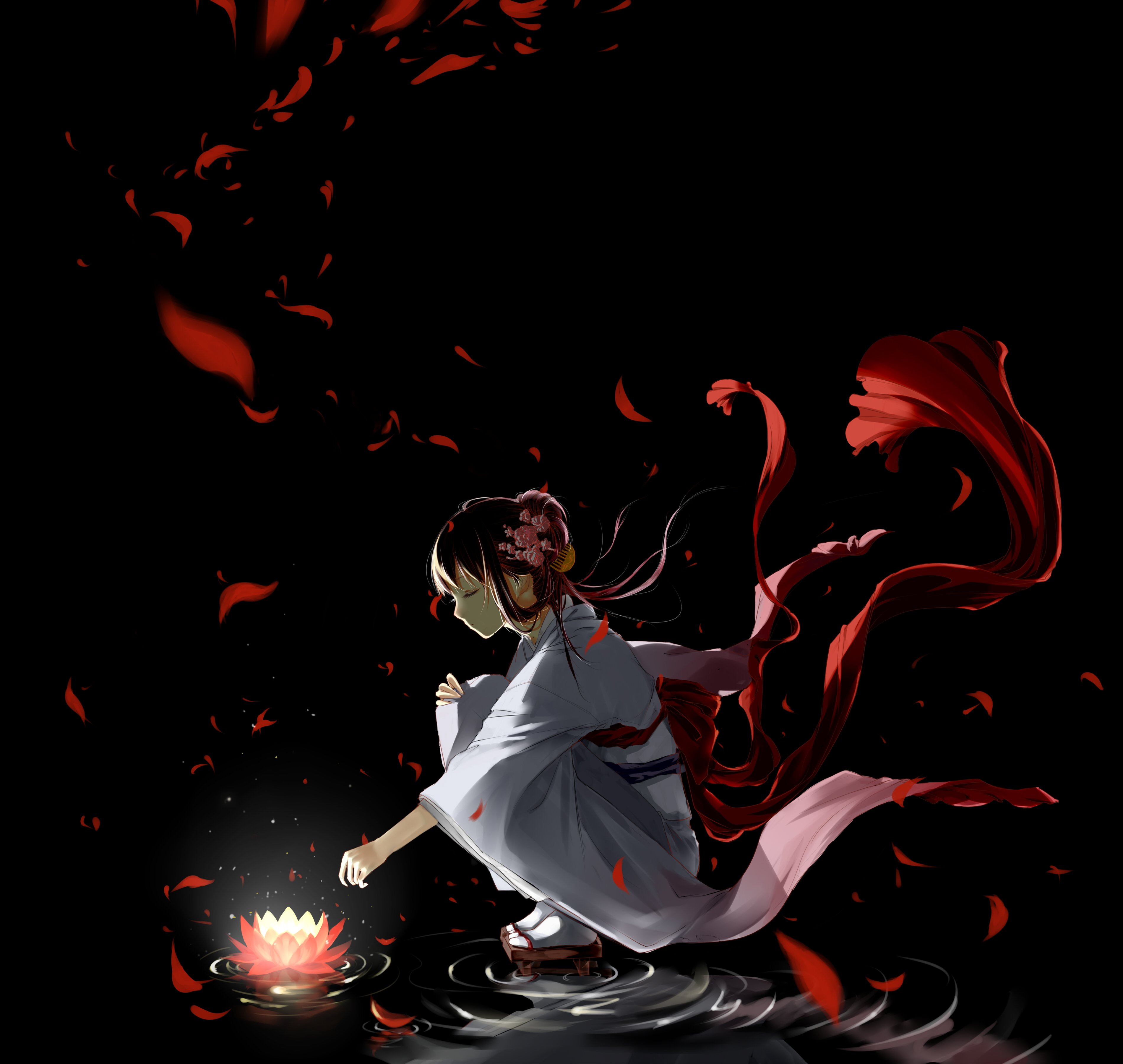 Night Lotus Girl Creepy Anime Wallpaper
