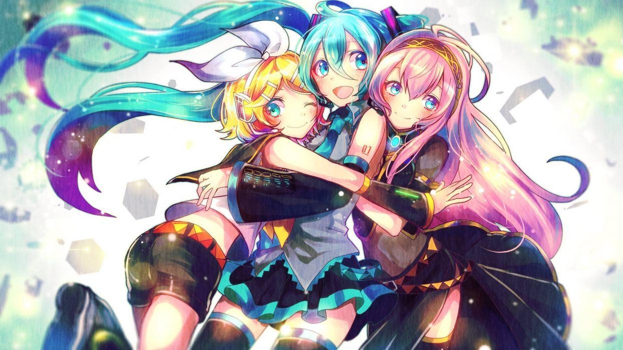 Vocaloid Kagamine Rin Megurine Luka and Hatsune Miku wallpaper