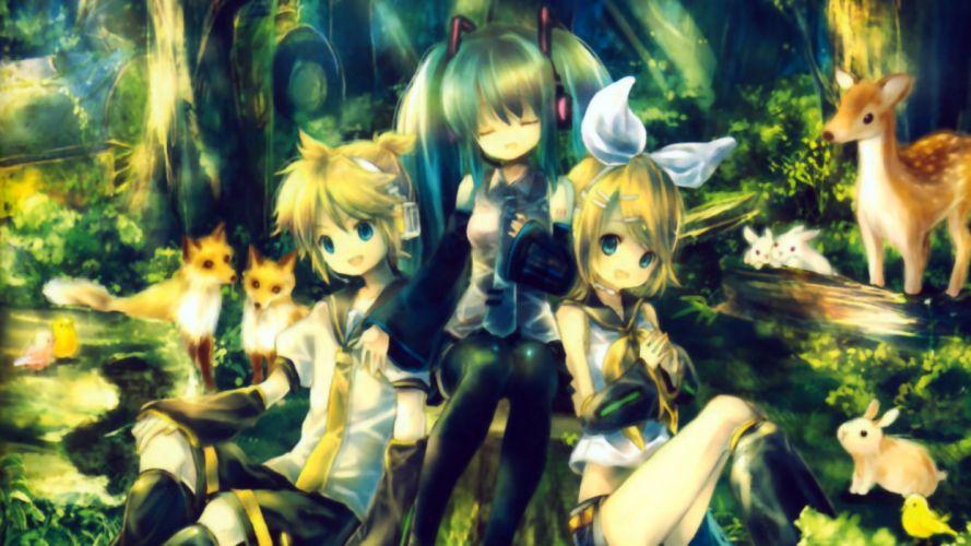 Vocaloid Len Kagamine Miku Hatsune and Rin Kagamine wallpaper