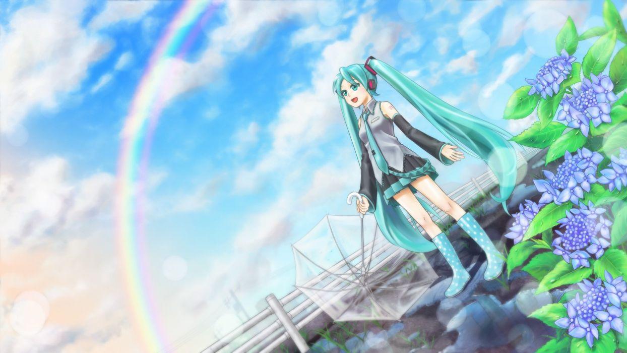 Vocaloid Miku Hatsune rainbow wallpaper
