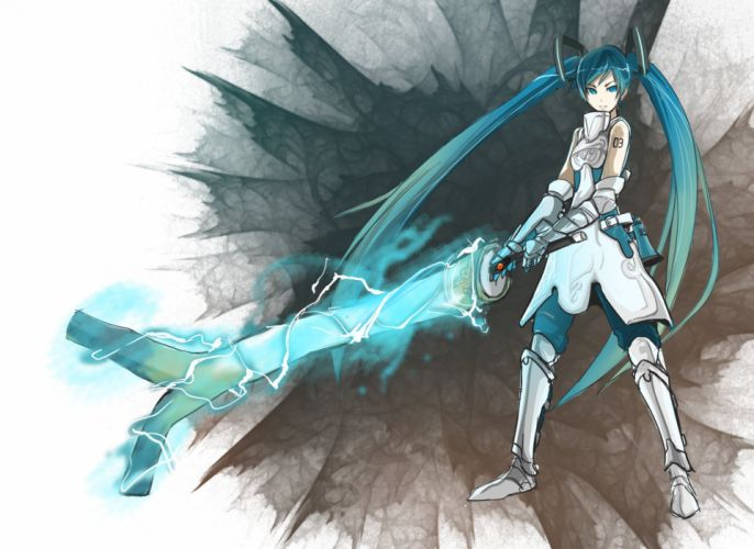 Vocaloid Miku Hatsune sword wallpaper