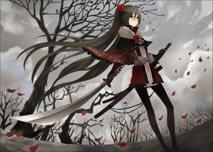 Vocaloid Miku Hatsune sword wallpaper