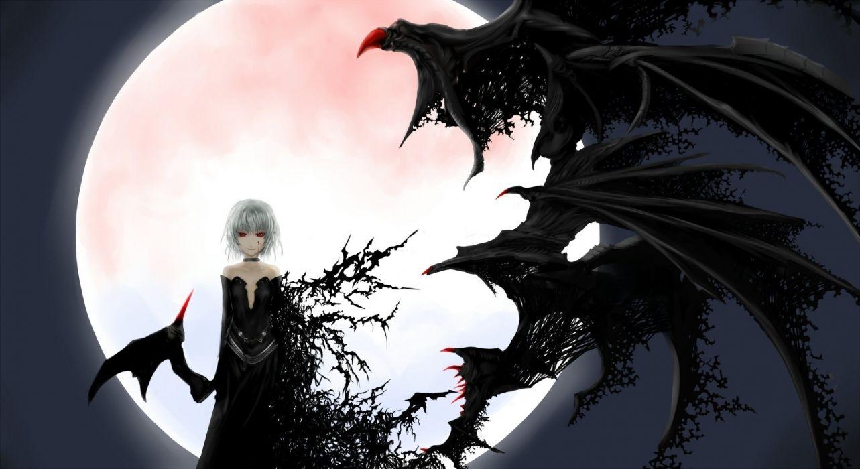Creepy anime girl albino wings moon background wallpaper
