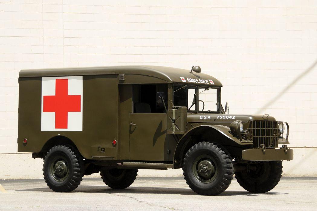1951 Dodge M43 4x4 Ambulance Truck military emergency retro semi tractor wallpaper