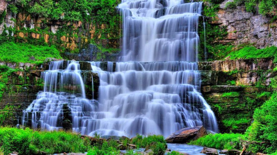 cascadas agua vegetacion wallpaper