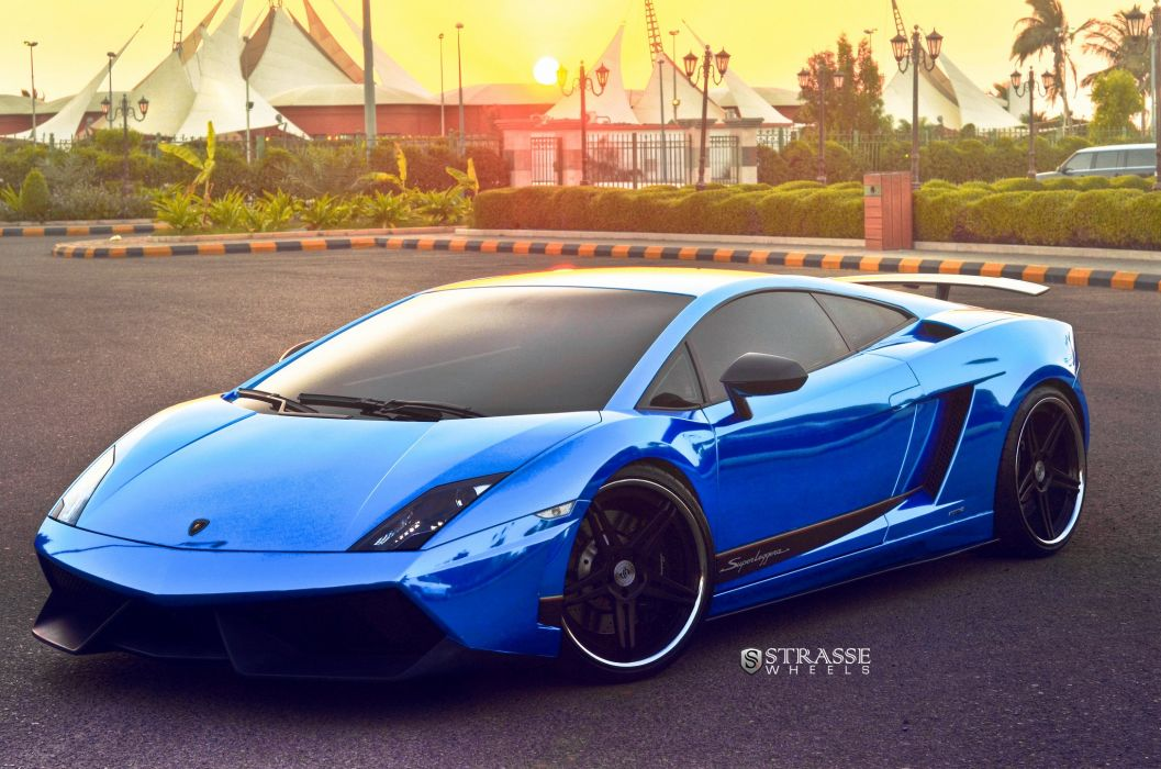Strasse Wheels Blue Chrome Lamborghini Superleggera gallardo coupe cars wallpaper
