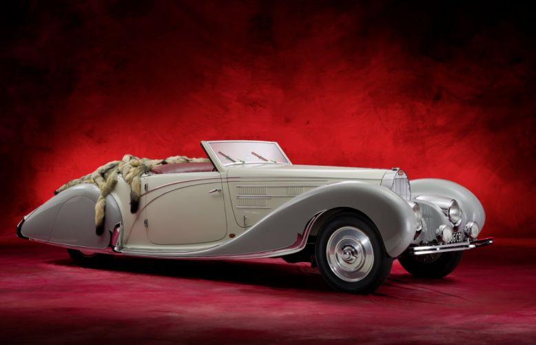1938 Bugatti Type 57C Cabriolet Gangloff vintage luxury wallpaper