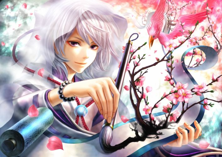 Anime girl white hair purple eyes wallpaper