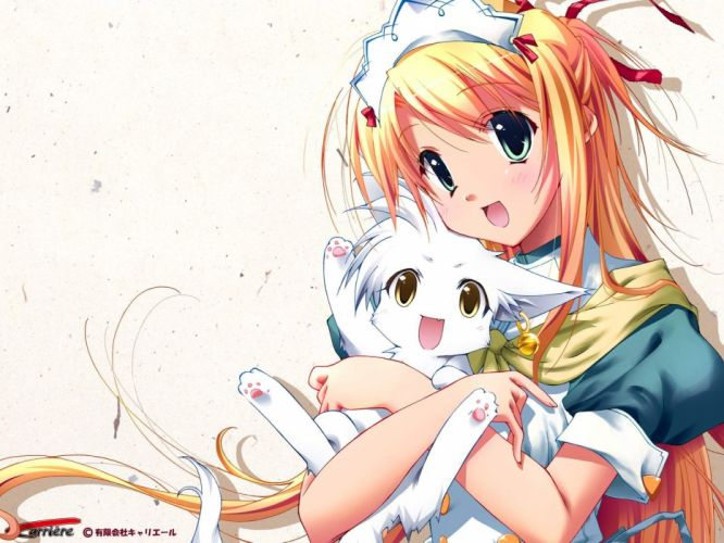 Anime girl blonde hair green eyes with cat wallpaper