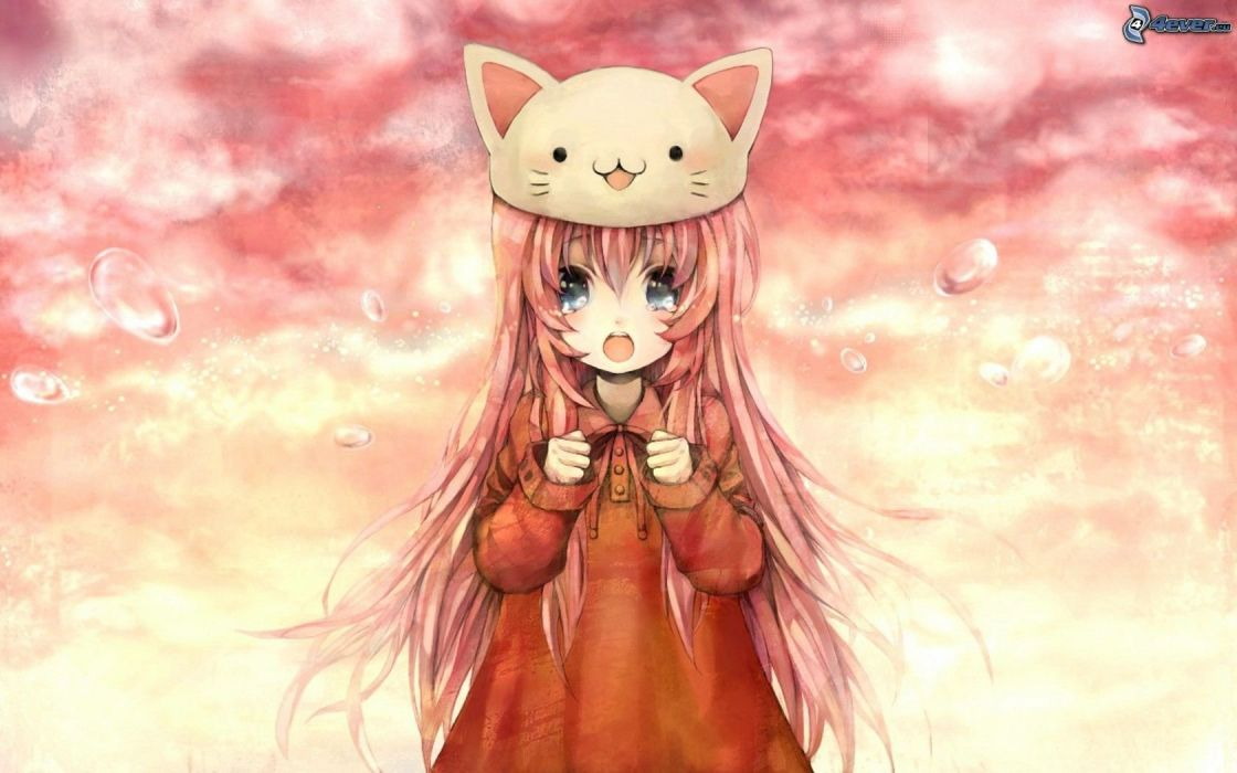 Anime girl orange hair blue eyes cat hat crying wallpaper