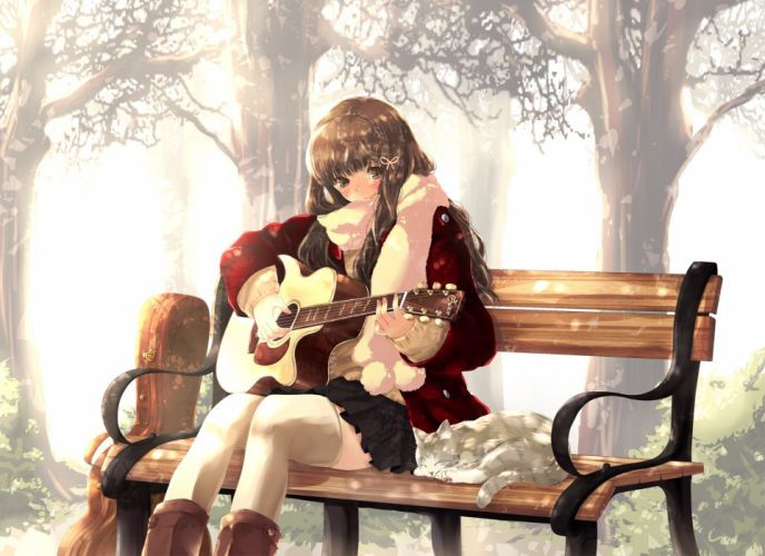 Anime girl brown hair and brown eyes play guitar wallpaper