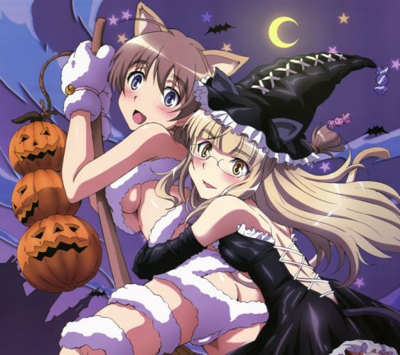 Anime girls brown and blonde hair blue and yellow eyes halloween wallpaper
