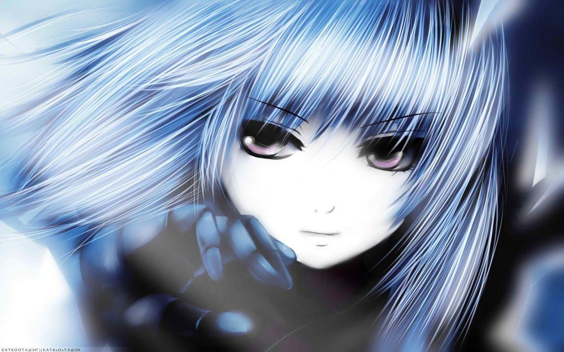 Anime girl blue hair purple eyes wallpaper