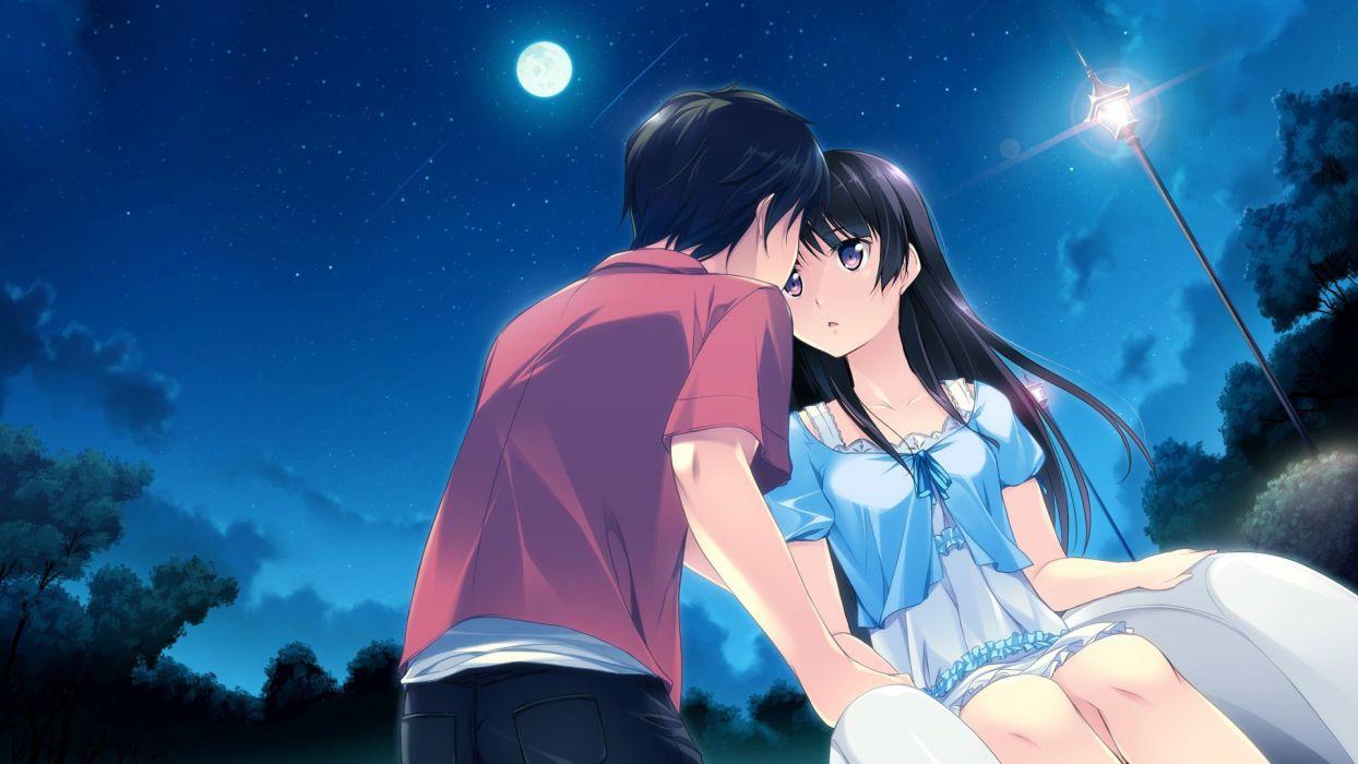 Anime brown hair and brown eyes romantic wallpaper