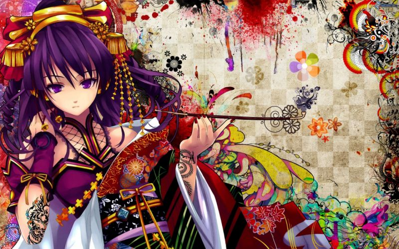 Anime girl purple hair purple eyes tattoo wallpaper