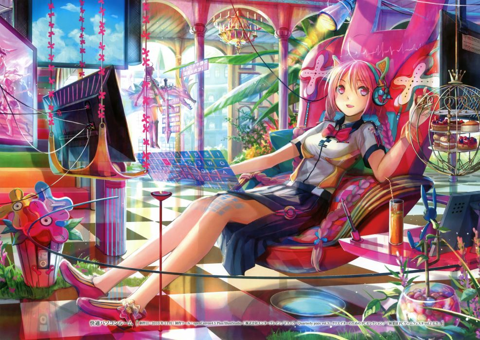 Anime catgirl pink hair and pink eyes with headphones wallpaper
