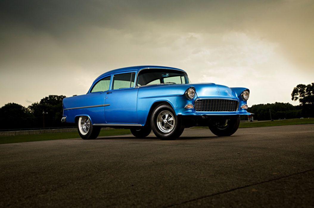 1955 Chevrolet sedan custom retro hot rod rods wallpaper