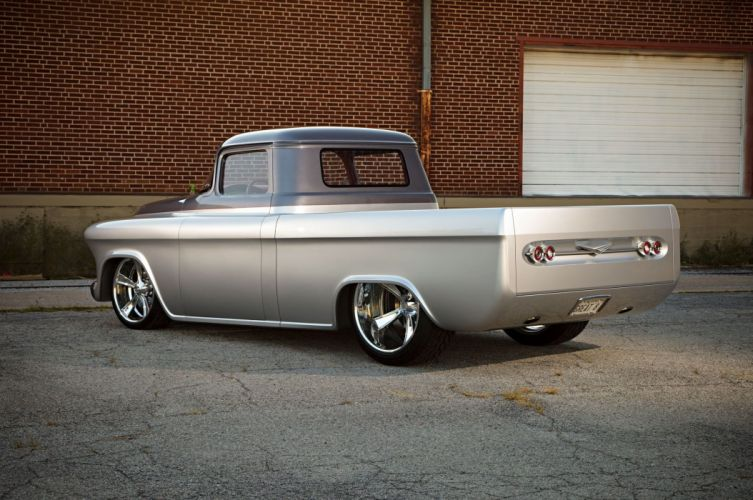 1957 Chevrolet Chevy Pickup Cameo Quiksilver Custom Street Rodder Hot Low USA -02 wallpaper