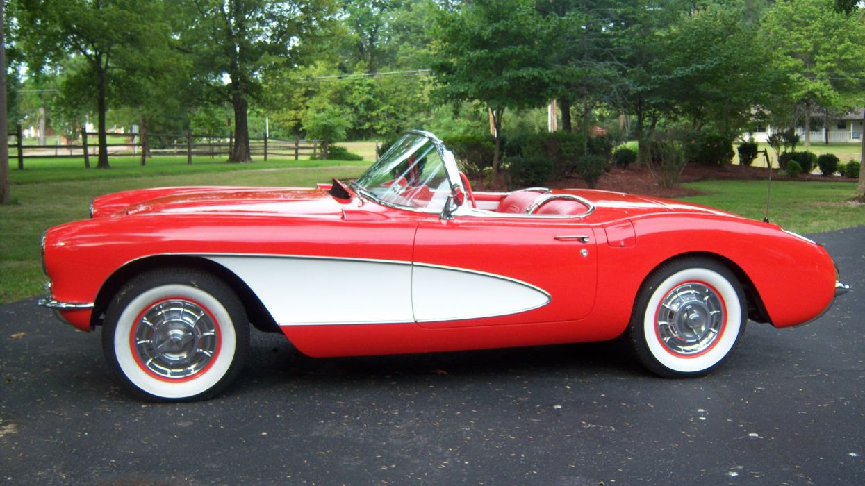 1957 Chevrolet Corvette Convertible Muscle Classic Old Vintage Original USA -02 wallpaper