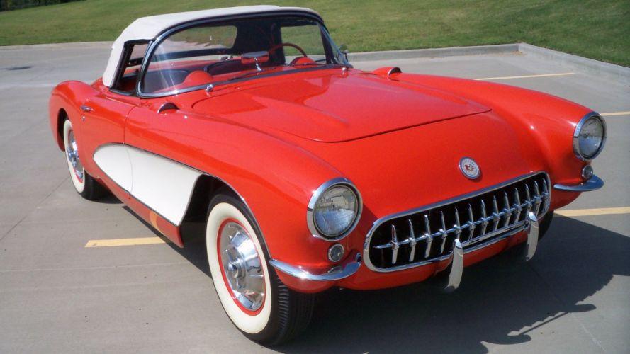 1957 Chevrolet Corvette Convertible Muscle Classic Old Vintage Original USA -01 wallpaper