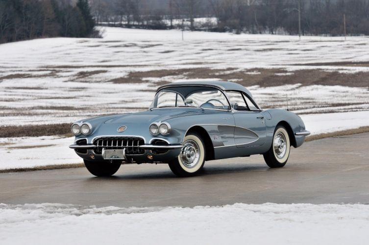 1958 chevy Chevrolet Corvette (c1) 283-290 HP Fuel Injection Silver Blue cars convertible classic wallpaper
