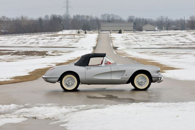 1958 chevy Chevrolet Corvette (c1) 283-290 HP Fuel Injection Silver Inca cars convertible classic wallpaper