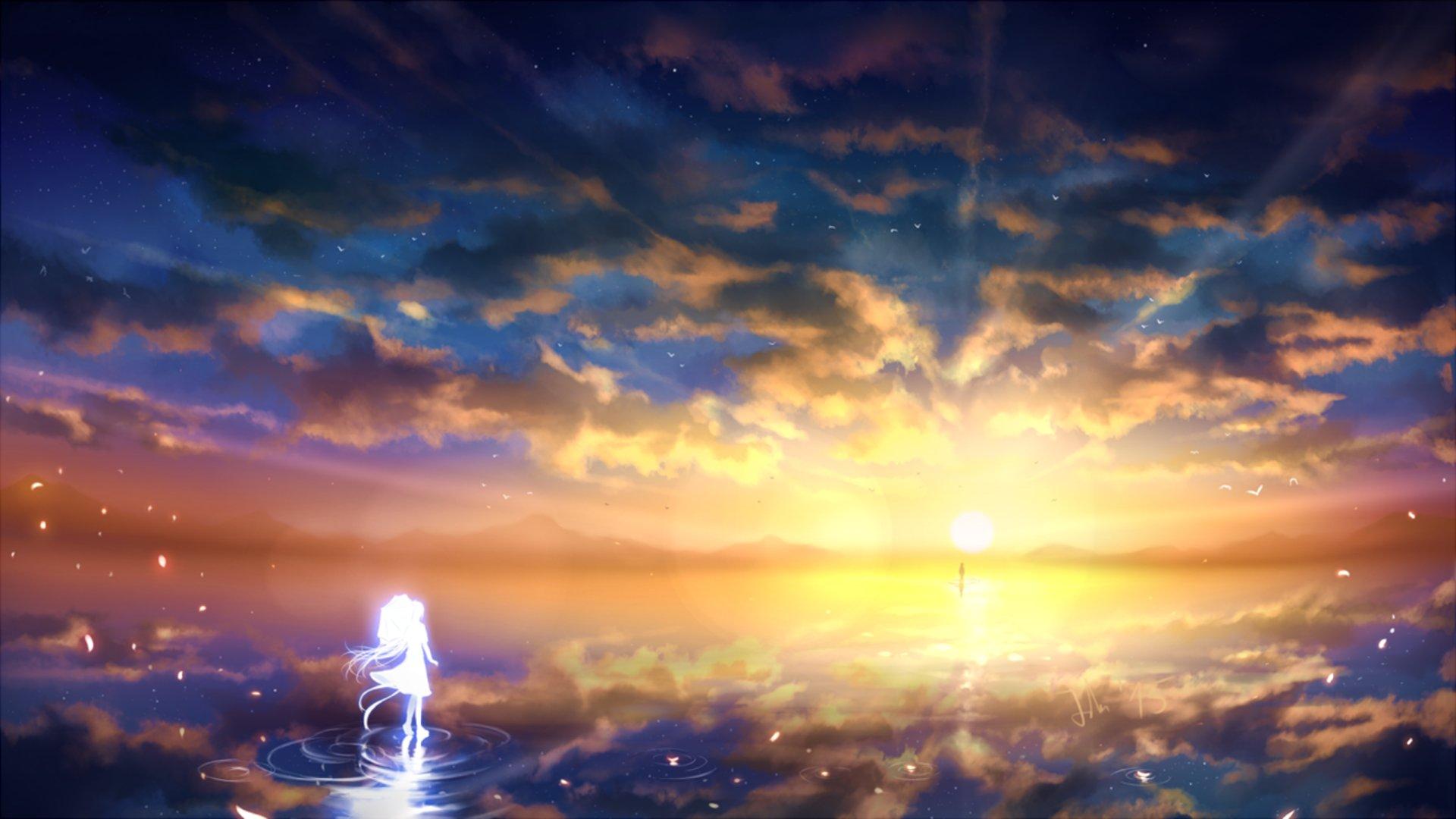 Anime girl sunset sky clouds beauty landscape wallpaper ...