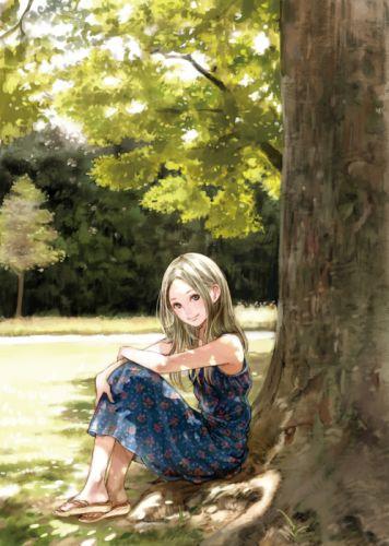 anime elf tree nature dress girl wallpaper
