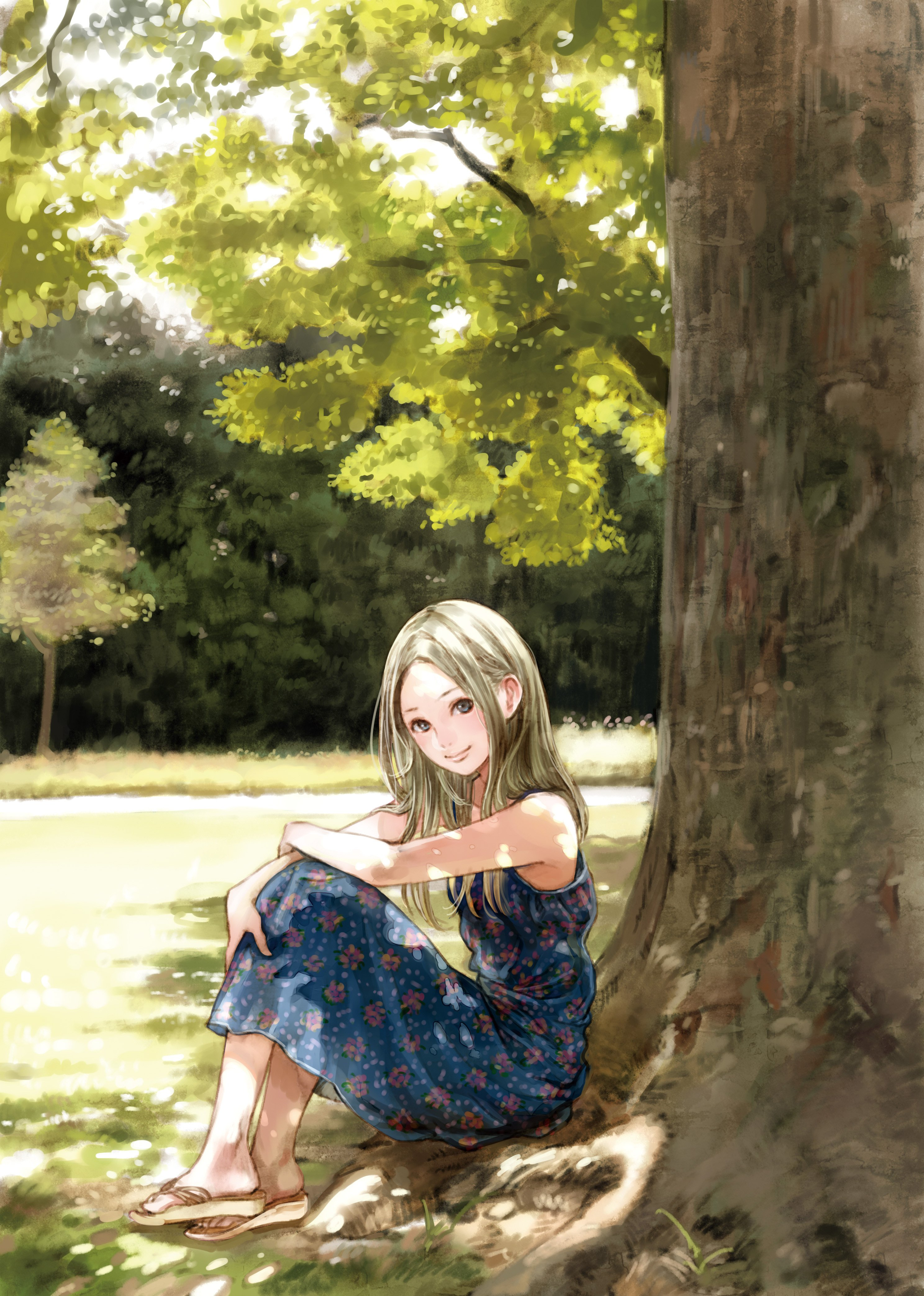 anime elf tree nature dress girl wallpaper 2976x4175