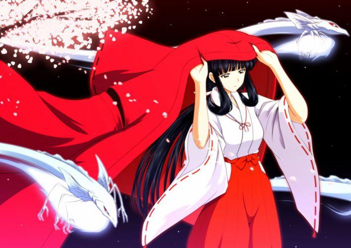 anime girl series inuyasya devushka bryunetka kimono drakony noch wallpaper