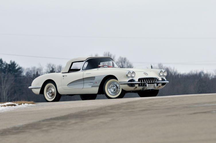 1958 Chevrolet Corvette 283 290HP Fuel Injection J800-867 supercar retro muscle wallpaper