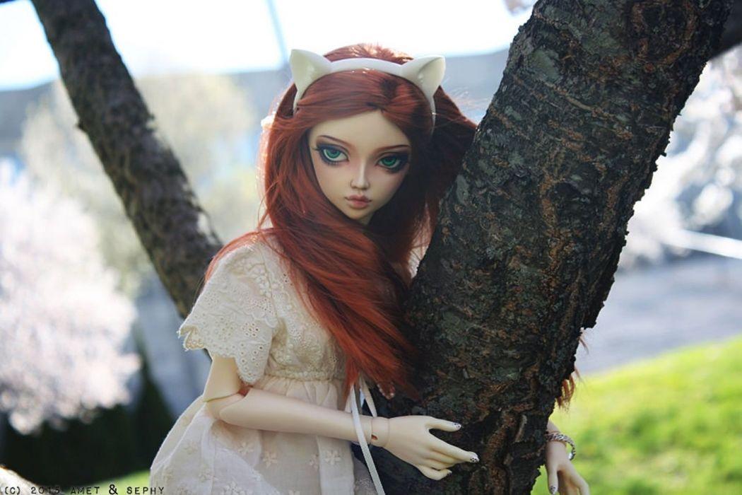 doll toys long hair girl beauty dress blue eyes red wallpaper