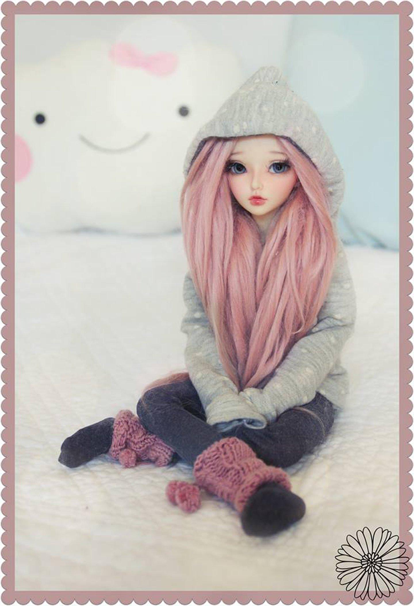 Doll Toys Long Hair Girl Beauty Dress Cute Blue Eyes Pink Wallpaper
