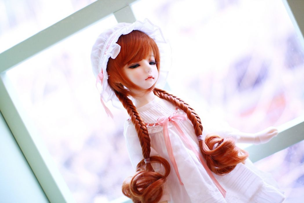 doll toys long hair girl beauty dress cute blue eyes red wallpaper