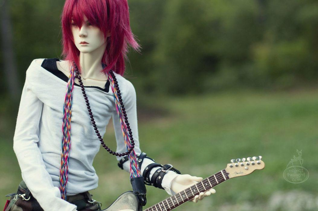 doll toys long hair male red beauty cute guitar wallpaper