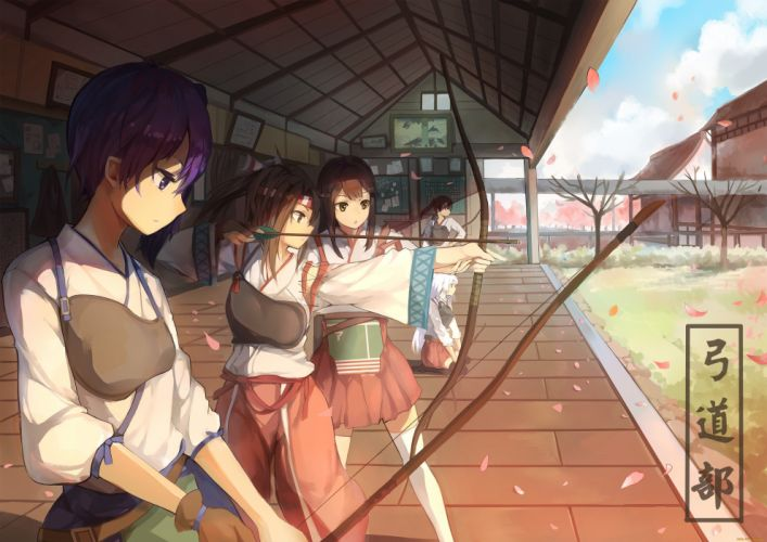 anime girls bow arrow wallpaper