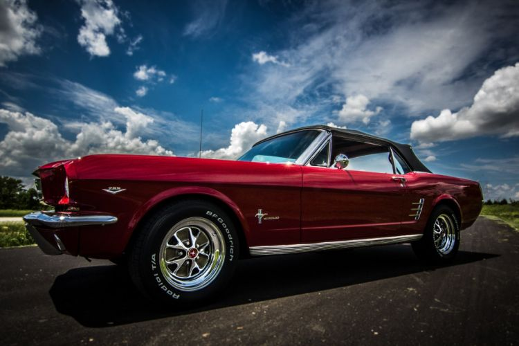 1966 Red Mustang ford convertible cars wallpaper