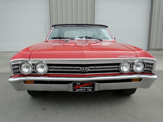 1967 Red Chevelle chevy chevrolet convertible cars wallpaper