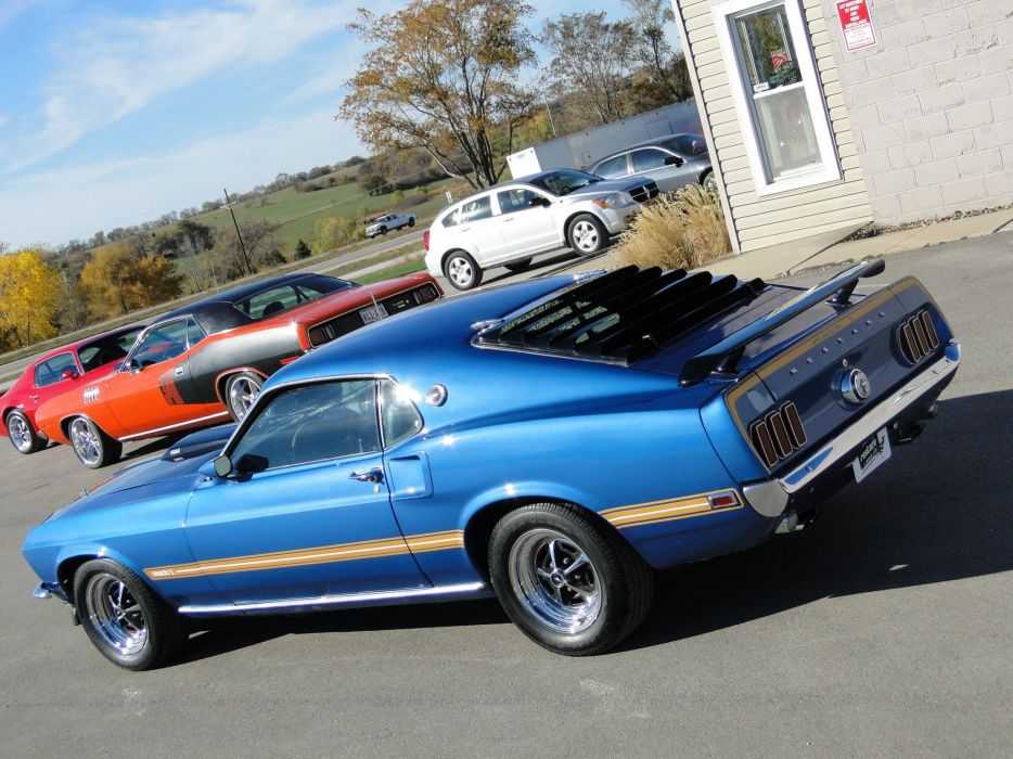1969 Ford Mustang mach 1 coupe cars blue wallpaper