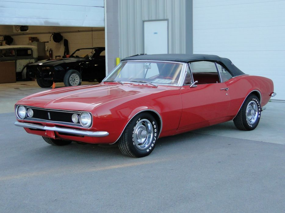 1967 Chevy chevrolet Camaro Convertible cars Red wallpaper