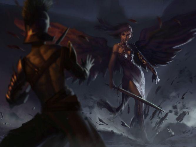 fantasy art artwork women woman female girl girls warrior angel wallpaper