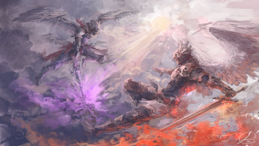 fantasy art artwork warrior angel wallpaper