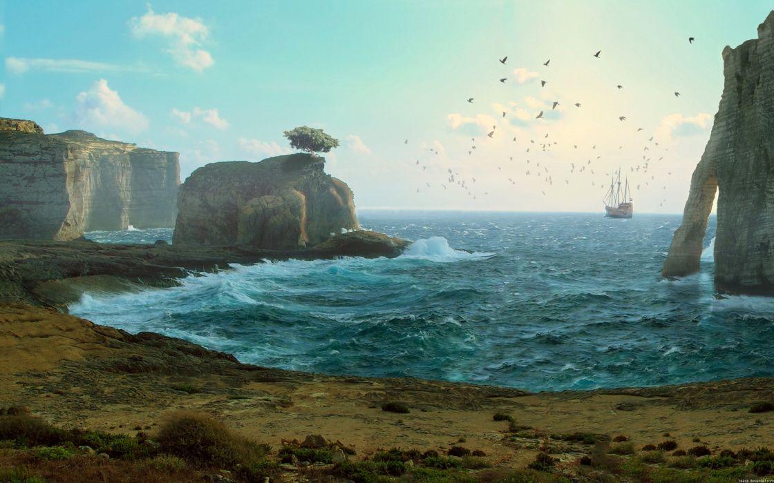 fantasy art artwork landscape nature ocean sea beach wallpaper