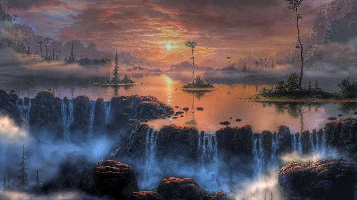 fantasy art artwork landscape nature river waterfall wallpaper