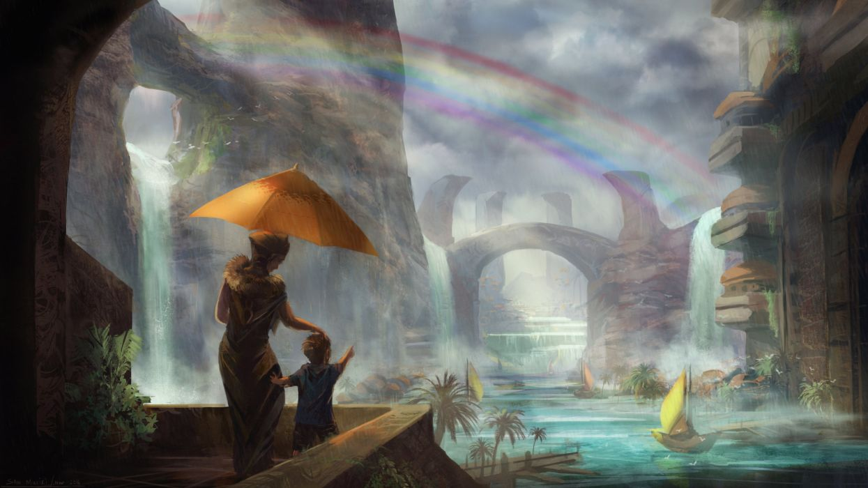 fantasy art artwork landscape nature mood waterfall child children baby wallpaper