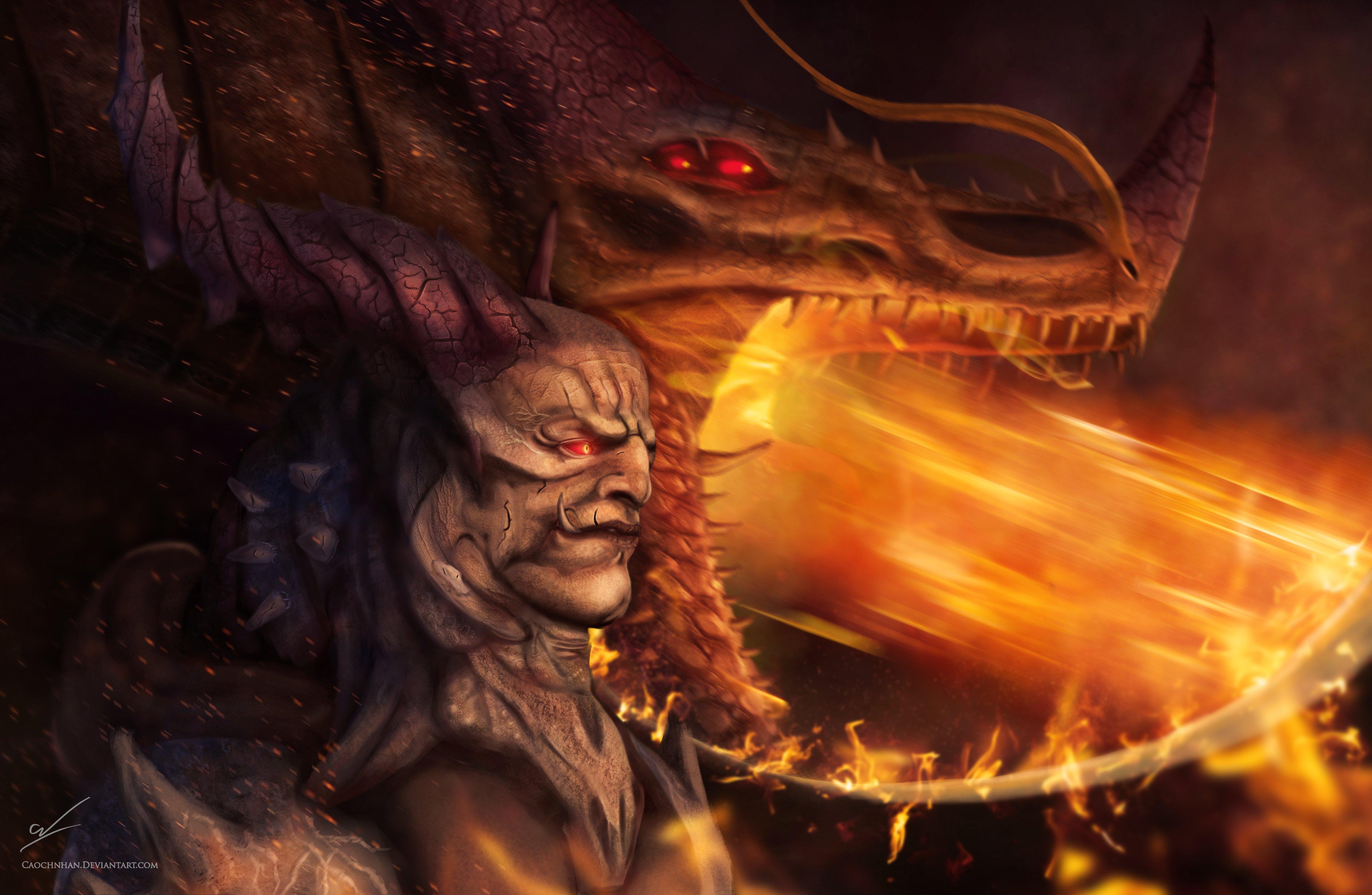 Evil Fire Dragon: Fantasy Art Artwork Demon Evil Dragon Wallpaper