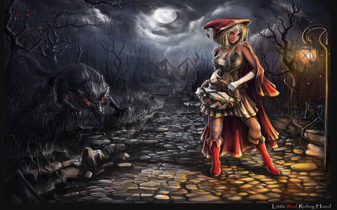 Fantasy Art Artwork Girl Girls Women Woman Female Red Riding