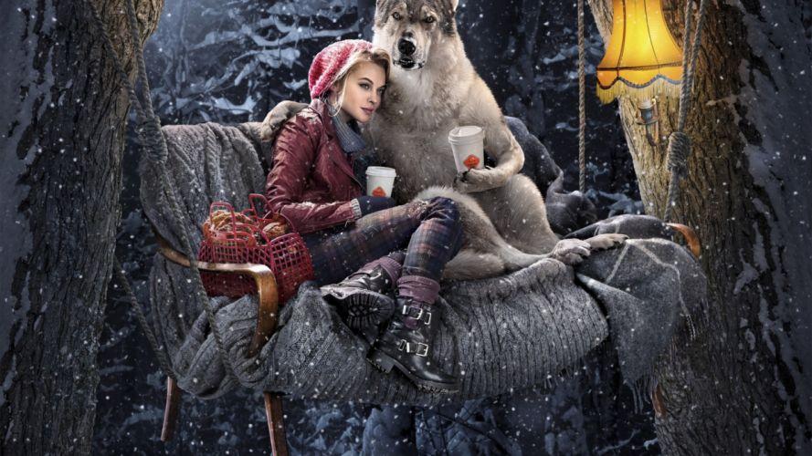 fantasy art artwork girl girls women woman female red riding hood wolf wolves wallpaper